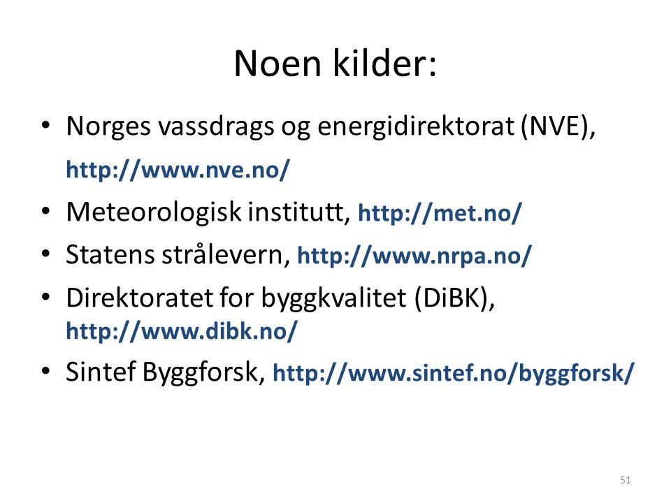 Noen kilder: Norges vassdrags og energidirektorat (NVE), http://www.nve.no/ Meteorologisk institutt, http://met.no/ Statens strålevern, http://www.nrpa.no/ Direktoratet for byggkvalitet (DiBK), http://www.dibk.no/ Sintef Byggforsk, http://www.sintef.no/byggforsk/ 51