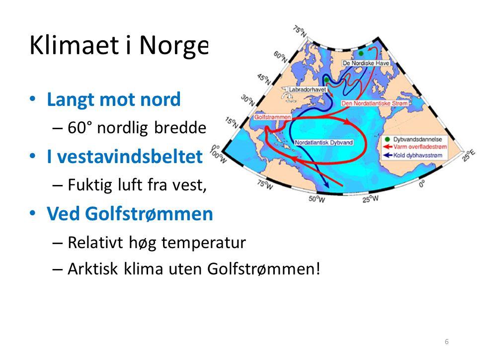 Klimaet i Norge Langt mot nord – 60° nordlig bredde I vestavindsbeltet – Fuktig luft fra vest, -nedbør Ved Golfstrømmen – Relativt høg temperatur – Arktisk klima uten Golfstrømmen.