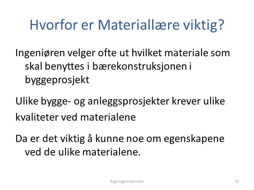 Hvorfor er Materiallære viktig? Ingeniøren velger ofte ut hvilket materiale som skal benyttes i bærekonstruksjonen i byggeprosjekt Ulike bygge- og anl