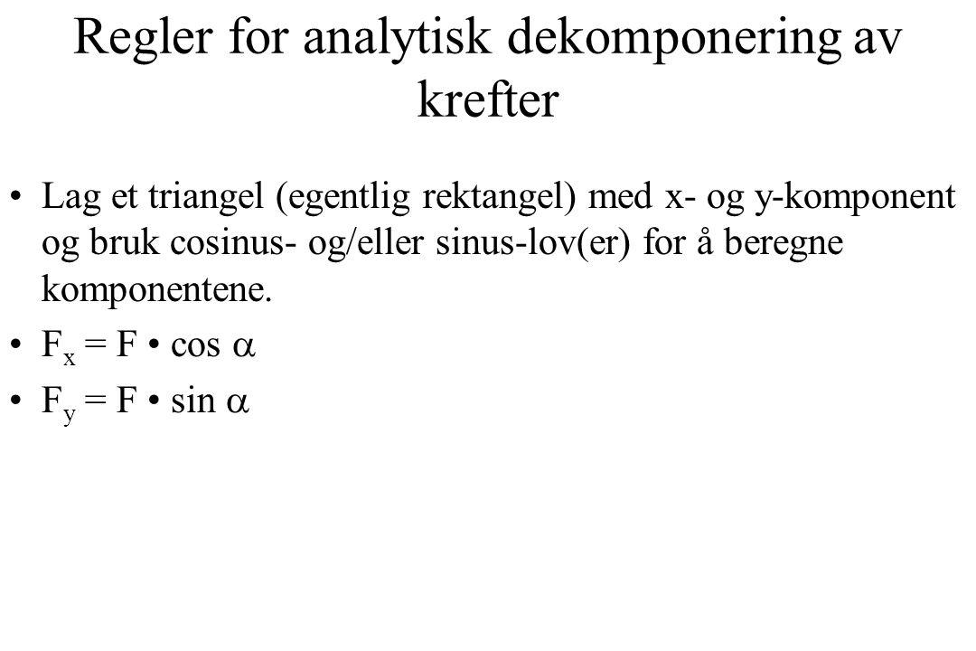 Regler for analytisk dekomponering av krefter Lag et triangel (egentlig rektangel) med x- og y-komponent og bruk cosinus- og/eller sinus-lov(er) for å