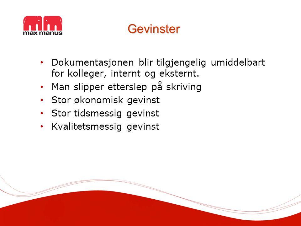 Gevinster Dokumentasjonen blir tilgjengelig umiddelbart for kolleger, internt og eksternt.