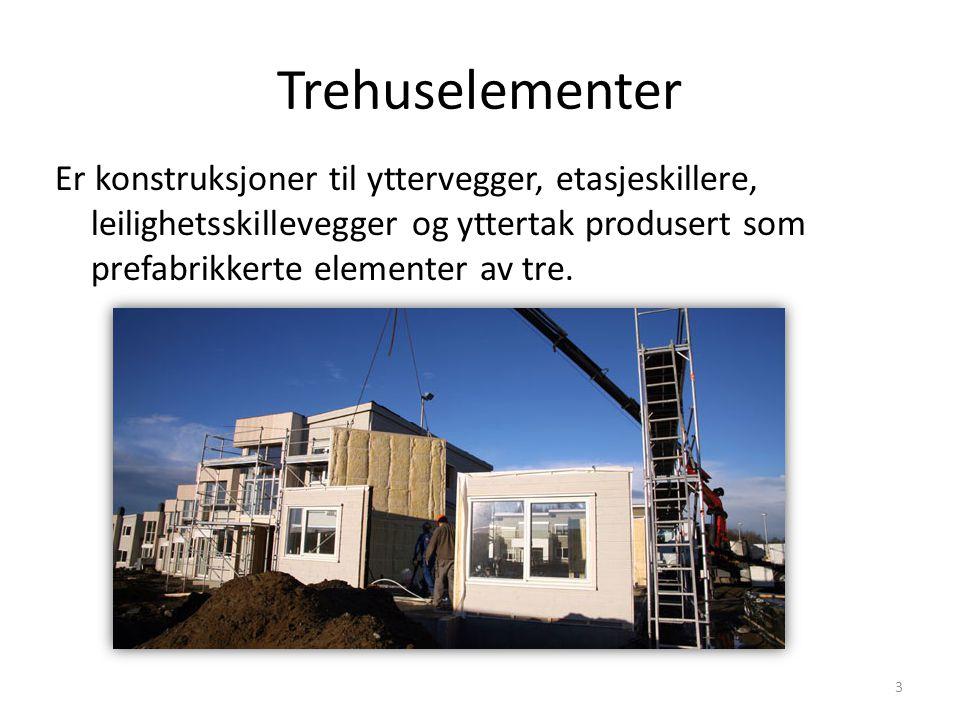 Trehuselementer Er konstruksjoner til yttervegger, etasjeskillere, leilighetsskillevegger og yttertak produsert som prefabrikkerte elementer av tre. 3
