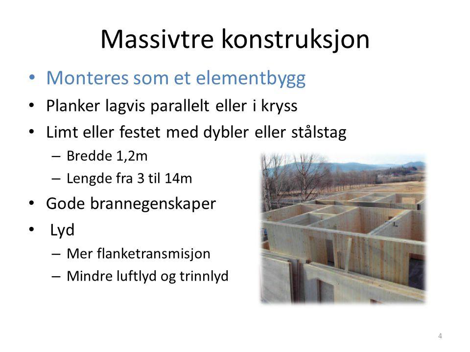Massivtre konstruksjon Monteres som et elementbygg Planker lagvis parallelt eller i kryss Limt eller festet med dybler eller stålstag – Bredde 1,2m –