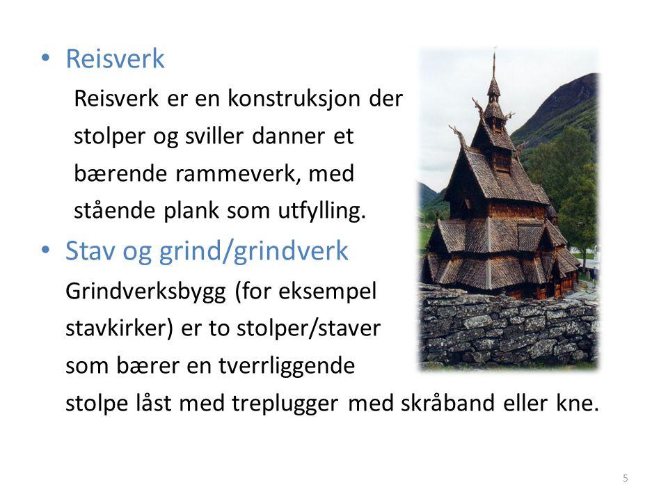 Reisverk Reisverk er en konstruksjon der stolper og sviller danner et bærende rammeverk, med stående plank som utfylling. Stav og grind/grindverk Grin