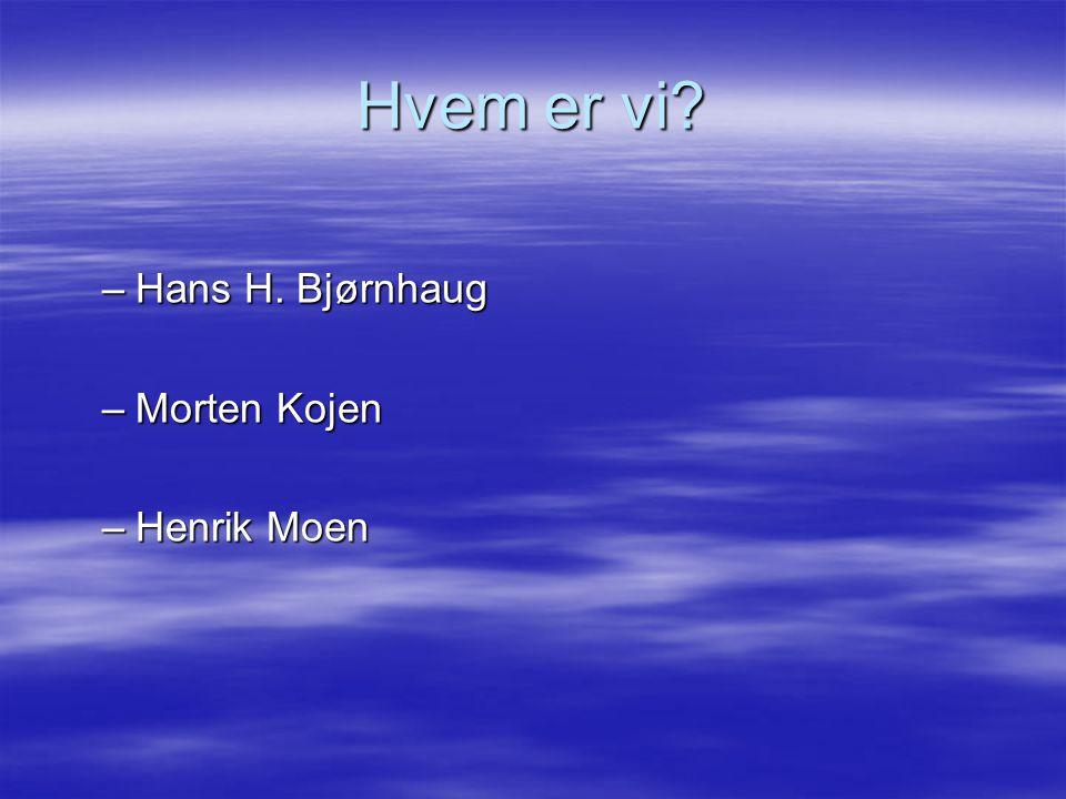 Hvem er vi? –Hans H. Bjørnhaug –Morten Kojen –Henrik Moen