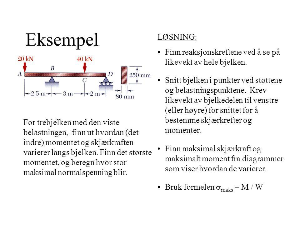 Eksempel For trebjelken med den viste belastningen, finn ut hvordan (det indre) momentet og skjærkraften varierer langs bjelken.