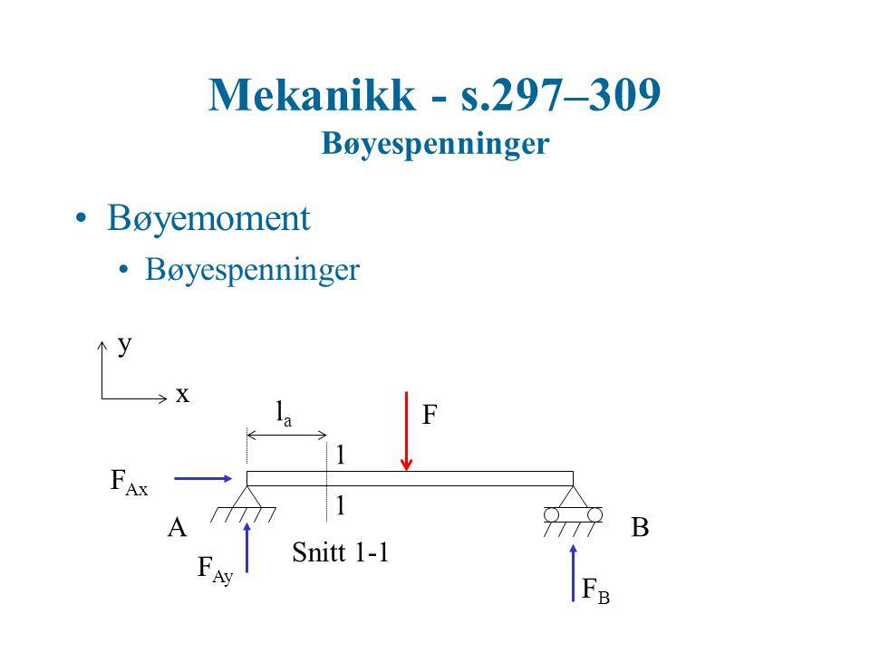 Mekanikk - s.297–309 Bøyespenninger Bøyemoment Bøyespenninger y x F 1 1 Snitt 1-1 AB F Ax F Ay FBFB lala