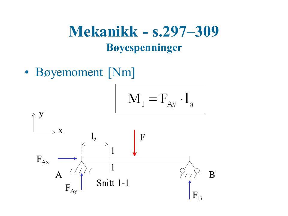 Mekanikk - s.297–309 Bøyespenninger Bøyemoment  Nm  y x F 1 1 Snitt 1-1 AB F Ax F Ay FBFB lala