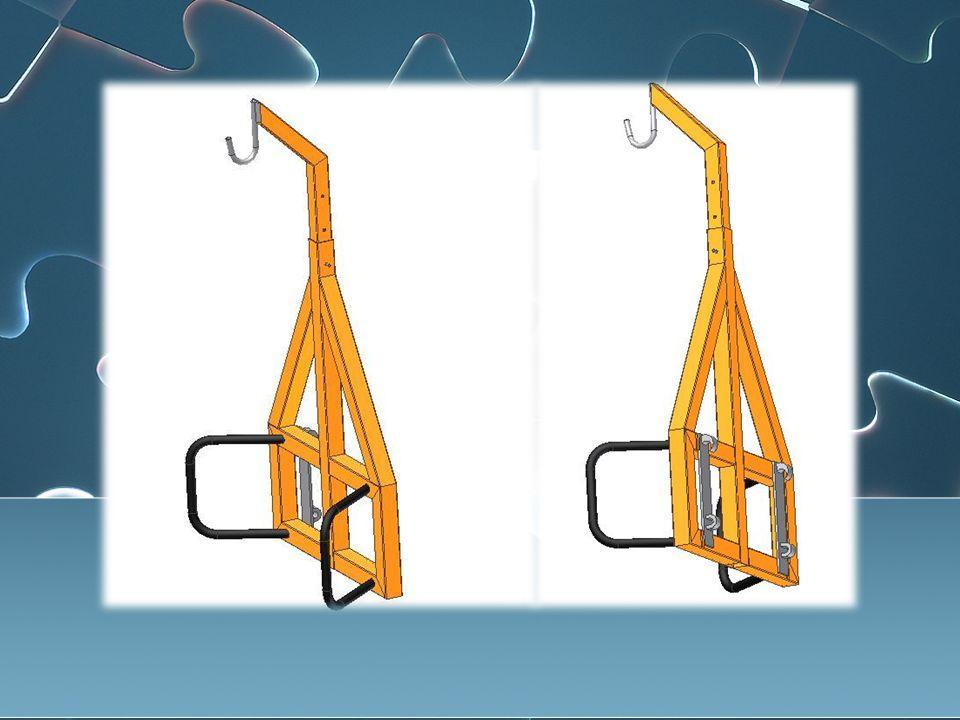 Storsekk løfteren skal løfte 1200kg og har justerbart tårn, som holdes oppe ved hjelp av en skrue.