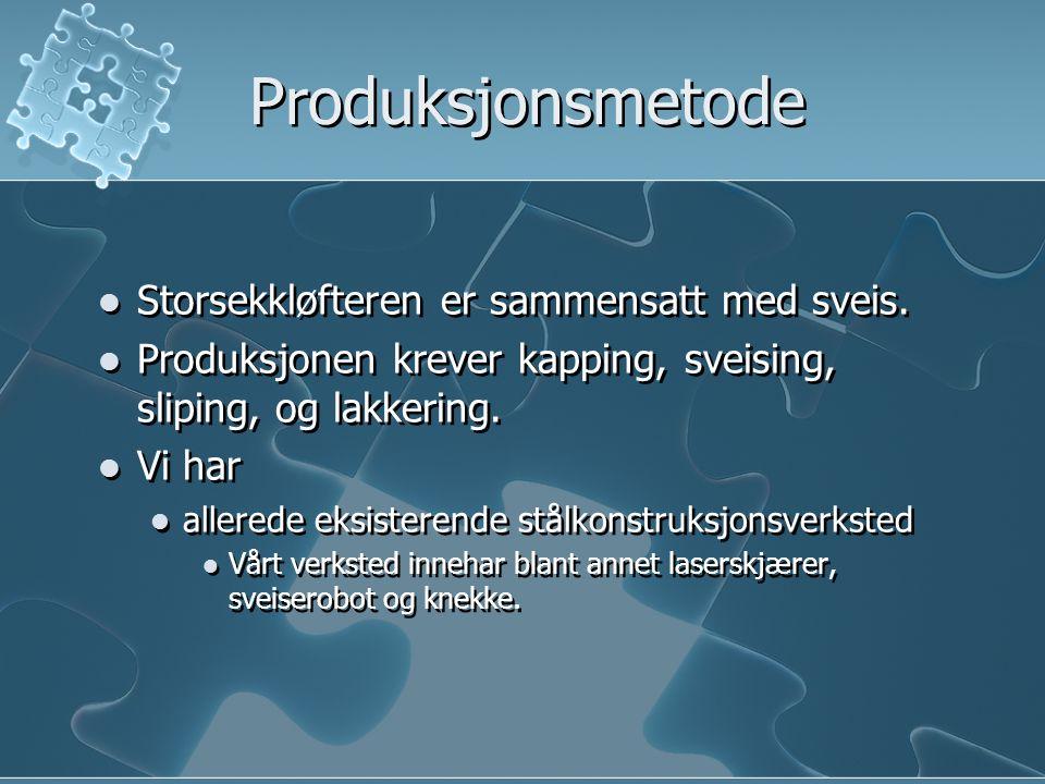 Produksjonsmetode Storsekkløfteren er sammensatt med sveis. Produksjonen krever kapping, sveising, sliping, og lakkering. Vi har allerede eksisterende