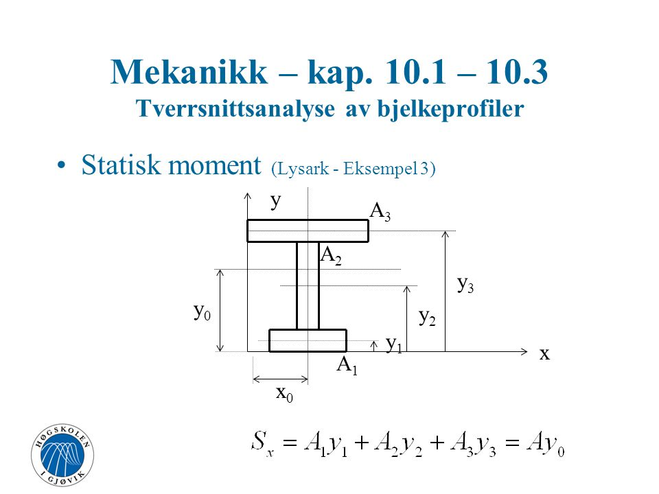 Mekanikk – kap. 10.1 – 10.3 Tverrsnittsanalyse av bjelkeprofiler Statisk moment (Lysark - Eksempel 3) x y x0x0 y0y0 y1y1 y2y2 y3y3 A3A3 A2A2 A1A1