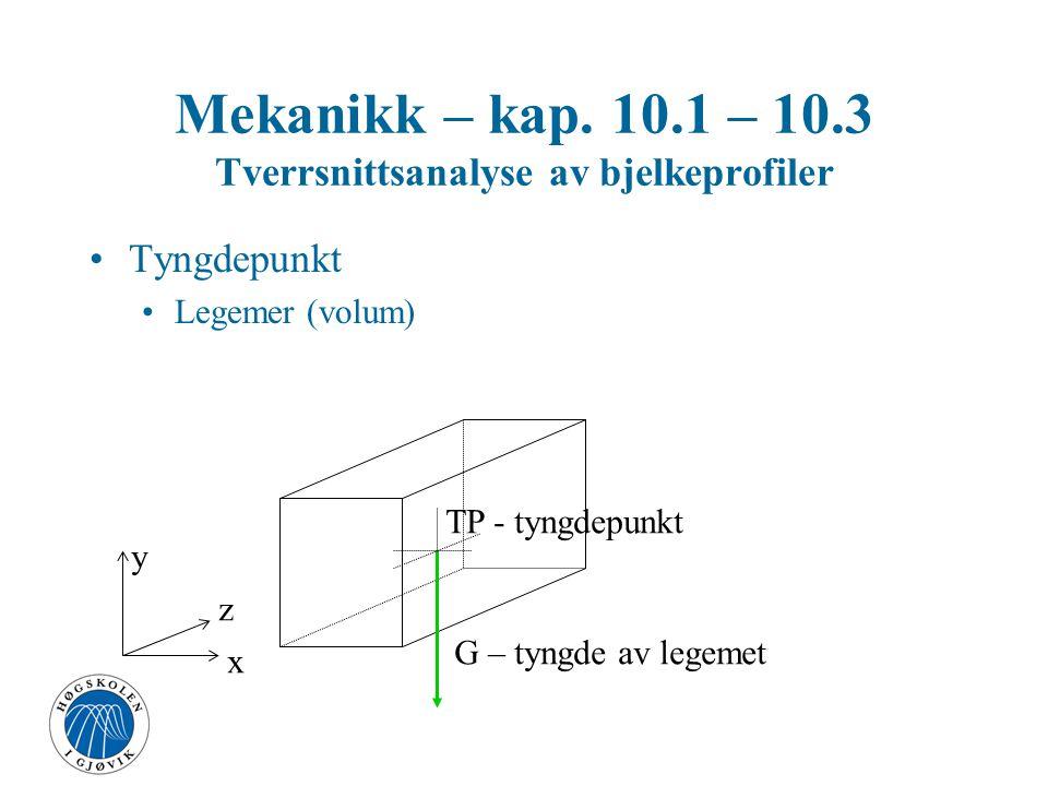 Tyngdepunkt Legemer (volum) G – tyngde av legemet TP - tyngdepunkt x y z