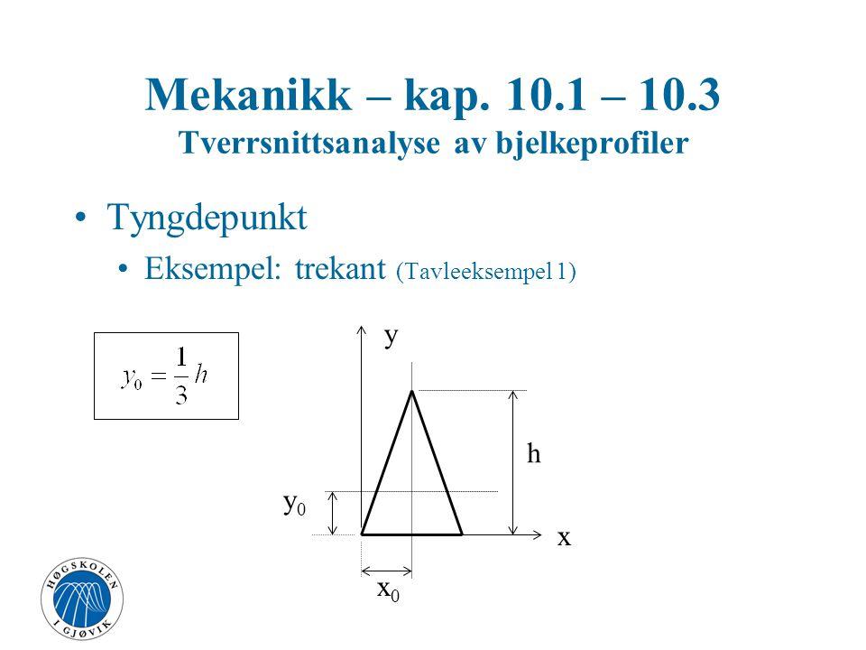 Mekanikk – kap. 10.1 – 10.3 Tverrsnittsanalyse av bjelkeprofiler Tyngdepunkt Eksempel: trekant (Tavleeksempel 1) x y x0x0 y0y0 h