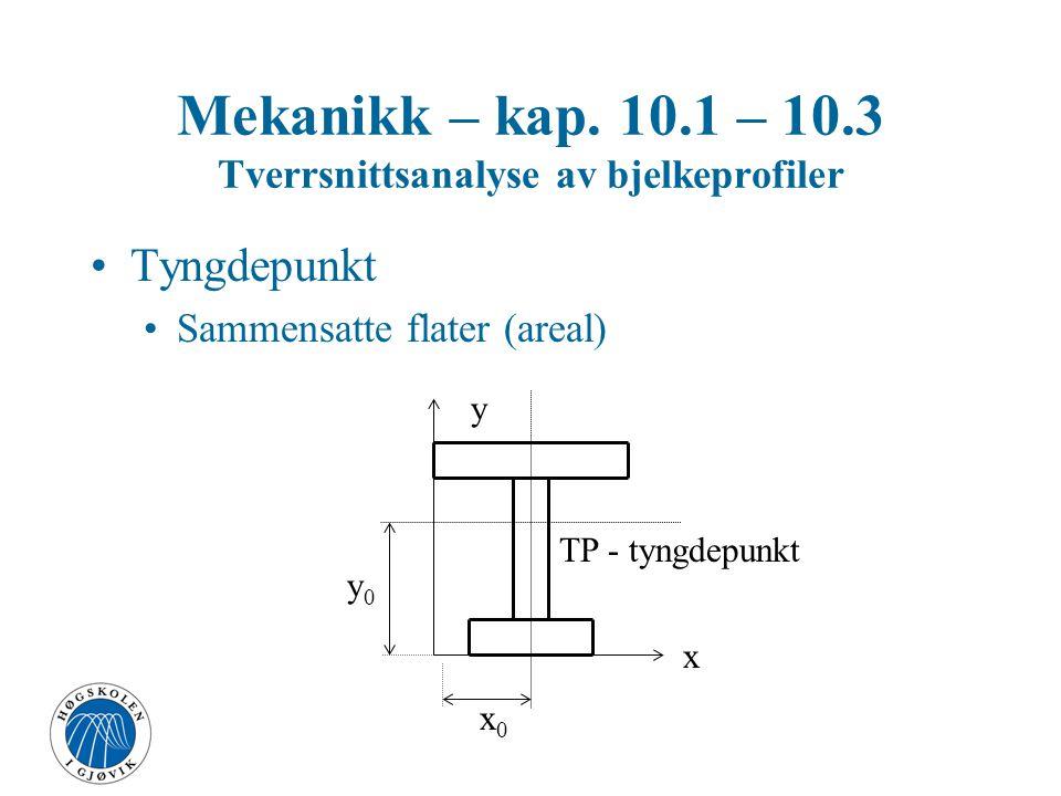 Mekanikk – kap. 10.1 – 10.3 Tverrsnittsanalyse av bjelkeprofiler Tyngdepunkt Sammensatte flater (areal) TP - tyngdepunkt x y x0x0 y0y0