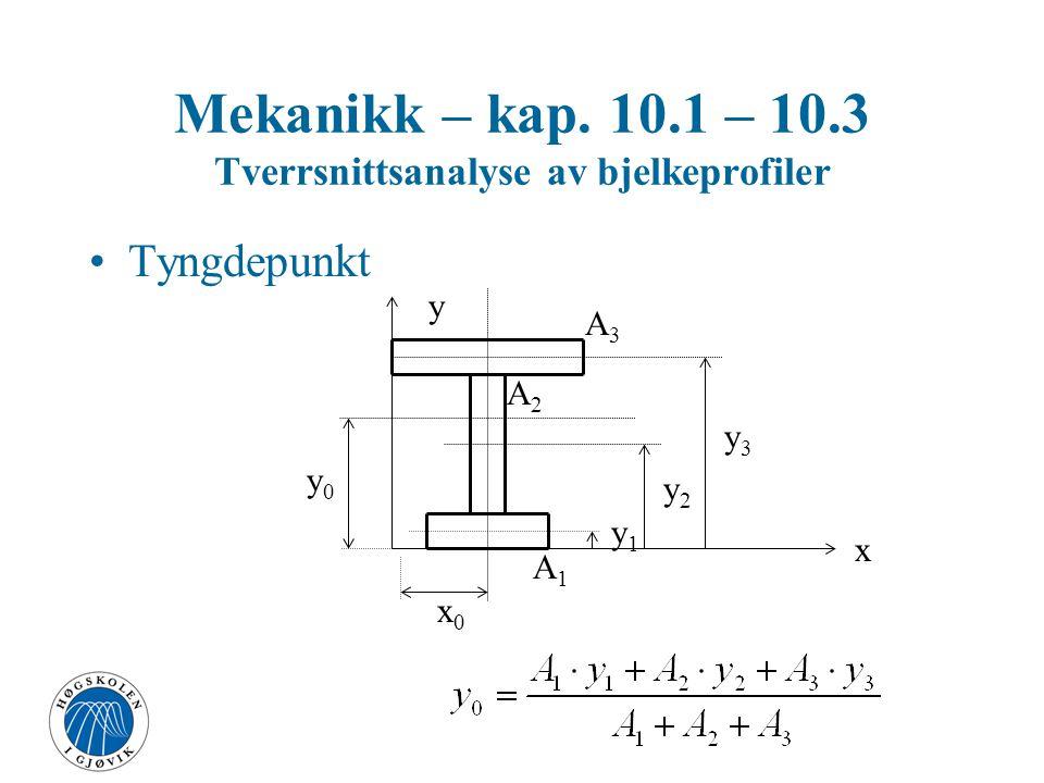 Mekanikk – kap. 10.1 – 10.3 Tverrsnittsanalyse av bjelkeprofiler Tyngdepunkt x y x0x0 y0y0 y1y1 y2y2 y3y3 A3A3 A2A2 A1A1
