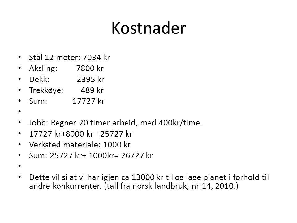 Kostnader Stål 12 meter: 7034 kr Aksling: 7800 kr Dekk: 2395 kr Trekkøye: 489 kr Sum: 17727 kr Jobb: Regner 20 timer arbeid, med 400kr/time.