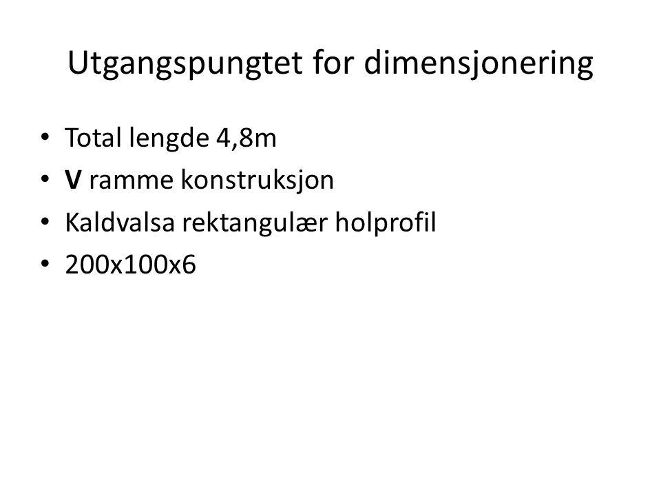 Utgangspungtet for dimensjonering Total lengde 4,8m V ramme konstruksjon Kaldvalsa rektangulær holprofil 200x100x6