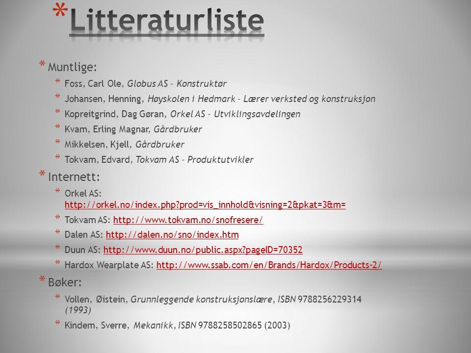 * Muntlige: * Foss, Carl Ole, Globus AS – Konstruktør * Johansen, Henning, Høyskolen i Hedmark – Lærer verksted og konstruksjon * Kopreitgrind, Dag Gøran, Orkel AS – Utviklingsavdelingen * Kvam, Erling Magnar, Gårdbruker * Mikkelsen, Kjell, Gårdbruker * Tokvam, Edvard, Tokvam AS – Produktutvikler * Internett: * Orkel AS: http://orkel.no/index.php?prod=vis_innhold&visning=2&pkat=3&m= http://orkel.no/index.php?prod=vis_innhold&visning=2&pkat=3&m= * Tokvam AS: http://www.tokvam.no/snofresere/http://www.tokvam.no/snofresere/ * Dalen AS: http://dalen.no/sno/index.htmhttp://dalen.no/sno/index.htm * Duun AS: http://www.duun.no/public.aspx?pageID=70352http://www.duun.no/public.aspx?pageID=70352 * Hardox Wearplate AS: http://www.ssab.com/en/Brands/Hardox/Products-2/http://www.ssab.com/en/Brands/Hardox/Products-2/ * Bøker: * Vollen, Øistein, Grunnleggende konstruksjonslære, ISBN 9788256229314 (1993) * Kindem, Sverre, Mekanikk, ISBN 9788258502865 (2003)