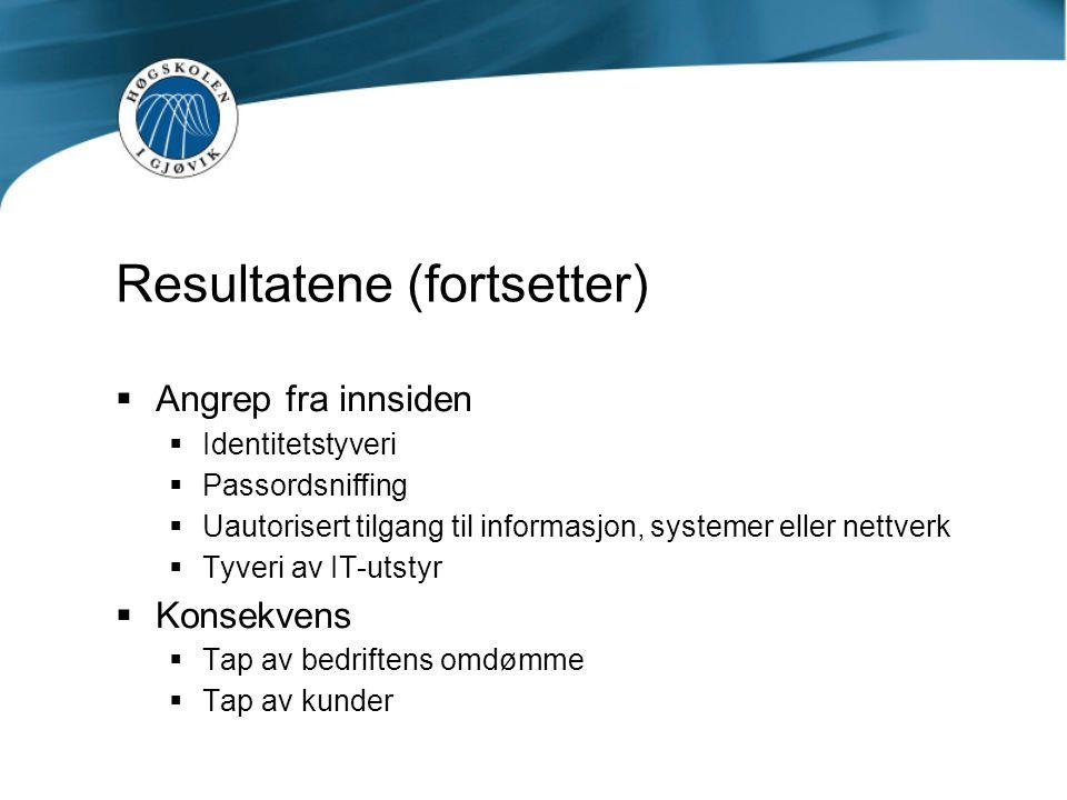 Resultatene (fortsetter)  Angrep fra innsiden  Identitetstyveri  Passordsniffing  Uautorisert tilgang til informasjon, systemer eller nettverk  Tyveri av IT-utstyr  Konsekvens  Tap av bedriftens omdømme  Tap av kunder