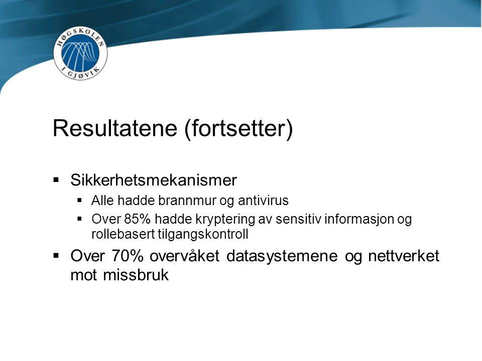 Resultatene (fortsetter)  Sikkerhetsmekanismer  Alle hadde brannmur og antivirus  Over 85% hadde kryptering av sensitiv informasjon og rollebasert