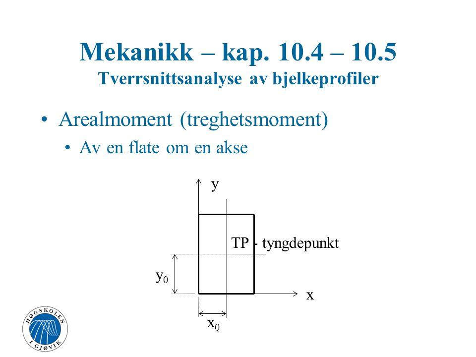 Mekanikk – kap. 10.4 – 10.5 Tverrsnittsanalyse av bjelkeprofiler I og W