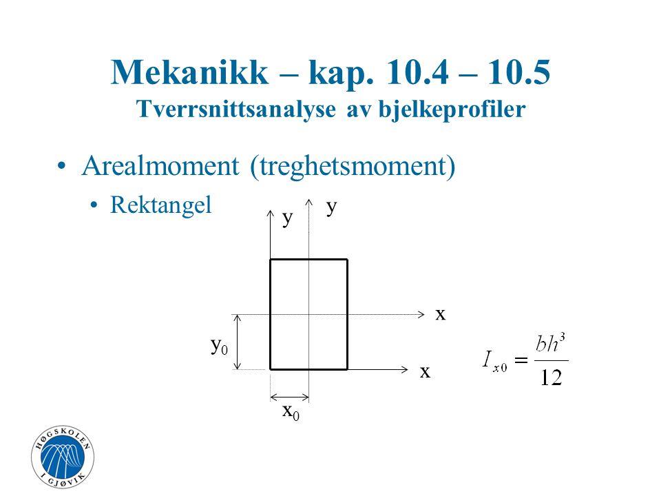 Mekanikk – kap. 10.4 – 10.5 Tverrsnittsanalyse av bjelkeprofiler Arealmoment (treghetsmoment) Av en flate om en akse TP - tyngdepunkt x y x0x0 y0y0