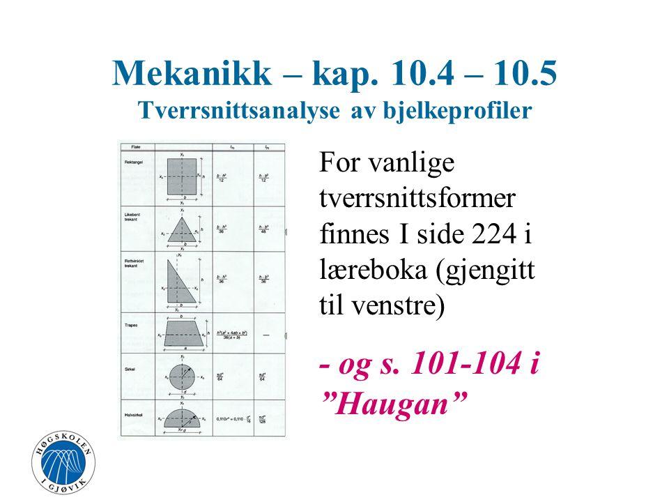 Arealmoment (treghetsmoment) Rektangel Mekanikk – kap. 10.4 – 10.5 Tverrsnittsanalyse av bjelkeprofiler x y x0x0 y0y0 x y