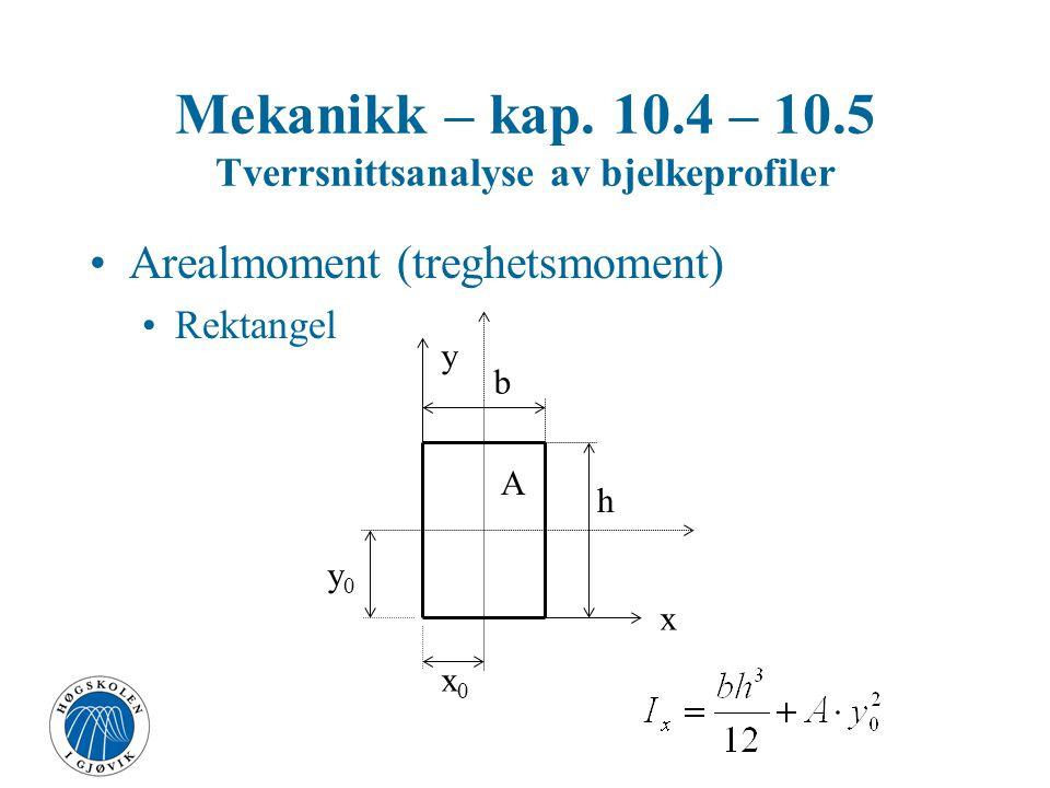 """For vanlige tverrsnittsformer finnes I side 224 i læreboka (gjengitt til venstre) - og s. 101-104 i """"Haugan"""""""