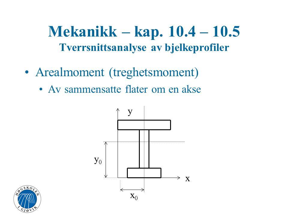 Arealmoment (treghetsmoment) Rektangel Mekanikk – kap. 10.4 – 10.5 Tverrsnittsanalyse av bjelkeprofiler x y x0x0 y0y0 A b h