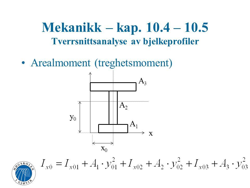 Arealmoment (treghetsmoment) Av sammensatte flater om en akse Mekanikk – kap. 10.4 – 10.5 Tverrsnittsanalyse av bjelkeprofiler x y x0x0 y0y0