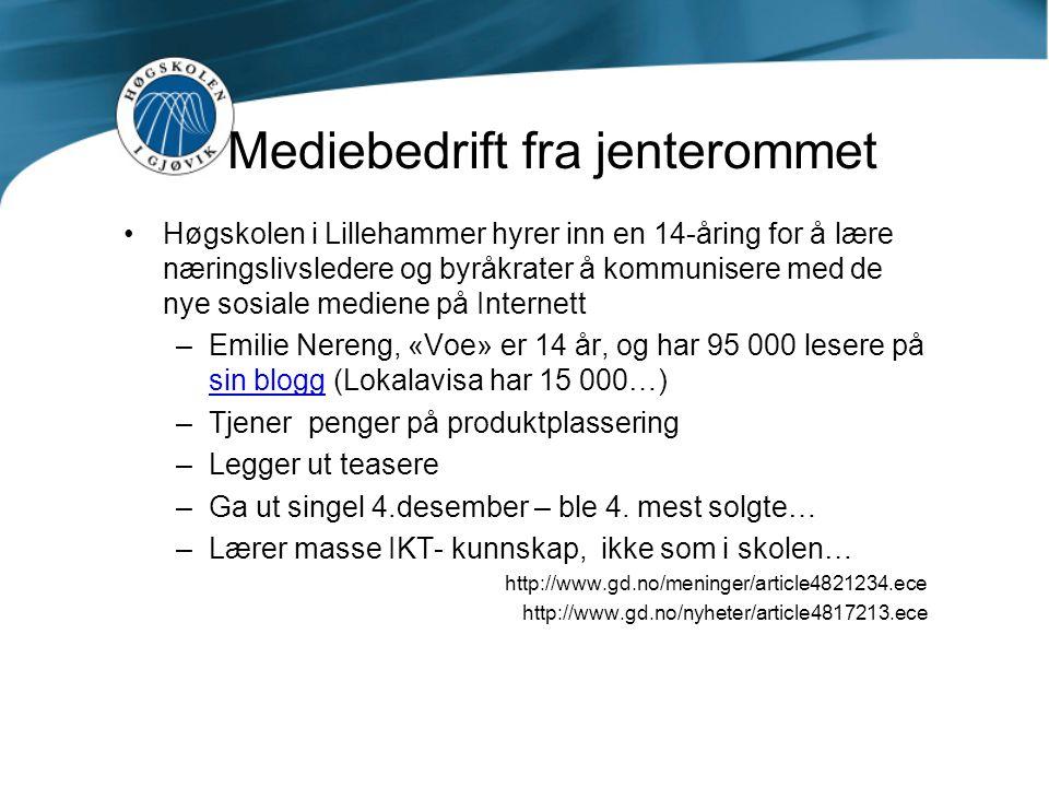 Mediebedrift fra jenterommet Høgskolen i Lillehammer hyrer inn en 14-åring for å lære næringslivsledere og byråkrater å kommunisere med de nye sosiale mediene på Internett –Emilie Nereng, «Voe» er 14 år, og har 95 000 lesere på sin blogg (Lokalavisa har 15 000…) sin blogg –Tjener penger på produktplassering –Legger ut teasere –Ga ut singel 4.desember – ble 4.