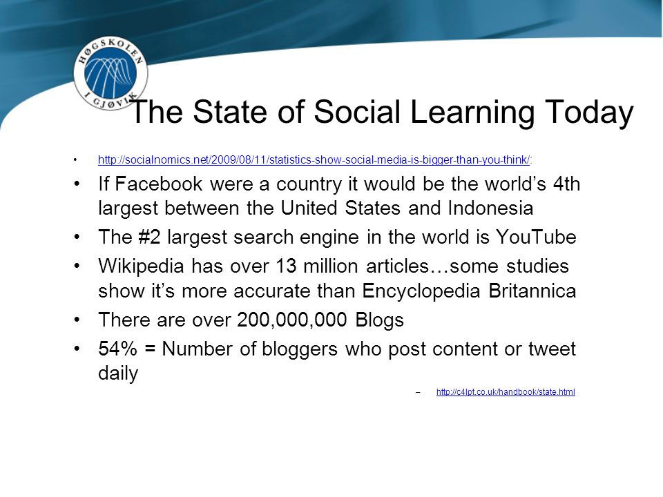 The State of Social Learning Today Ssocial media is being used for many different types of learning.