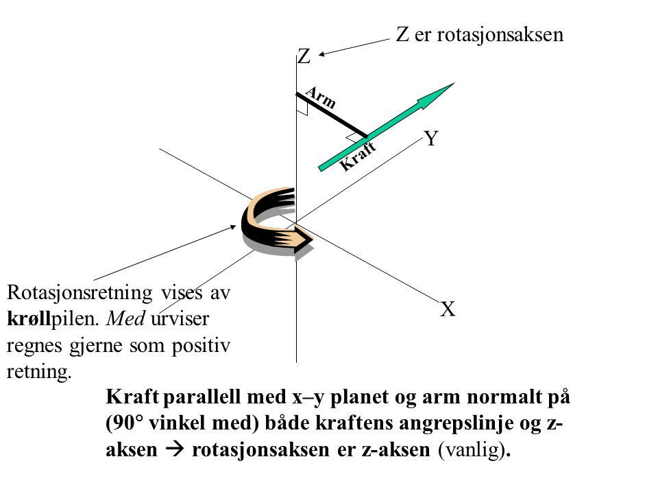 X Y Z Arm Kraft Kraft parallell med x–y planet og arm normalt på (90  vinkel med) både kraftens angrepslinje og z- aksen  rotasjonsaksen er z-aksen