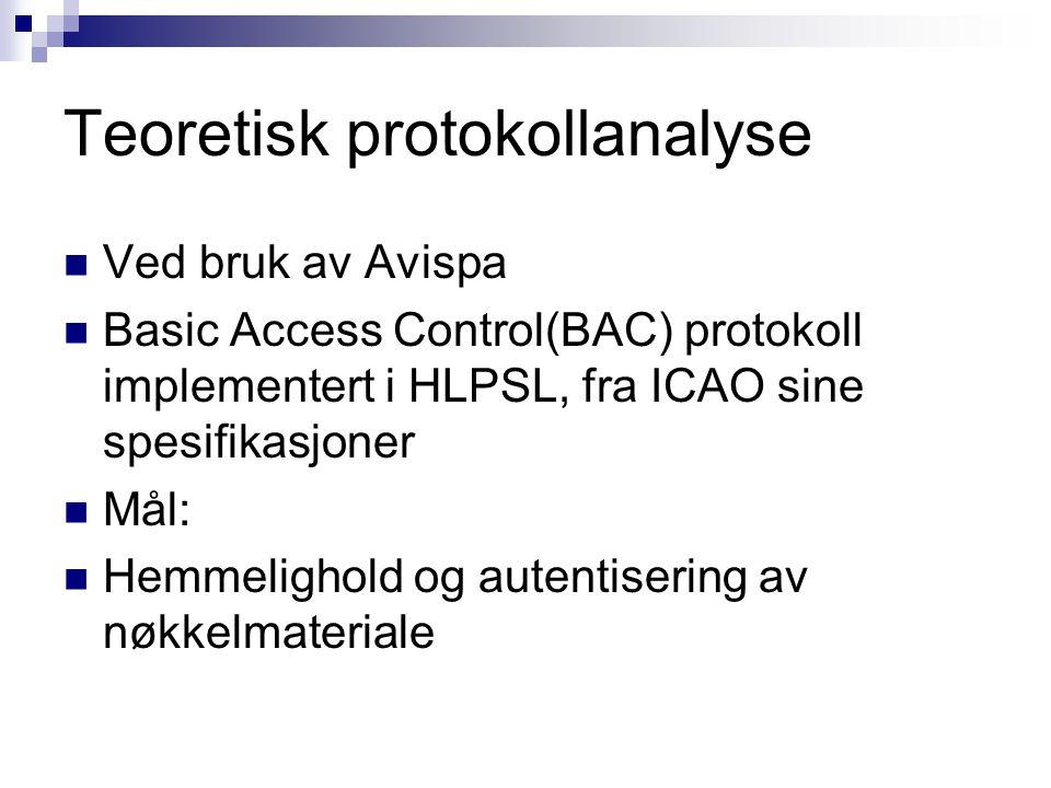 Teoretisk protokollanalyse Ved bruk av Avispa Basic Access Control(BAC) protokoll implementert i HLPSL, fra ICAO sine spesifikasjoner Mål: Hemmelighol