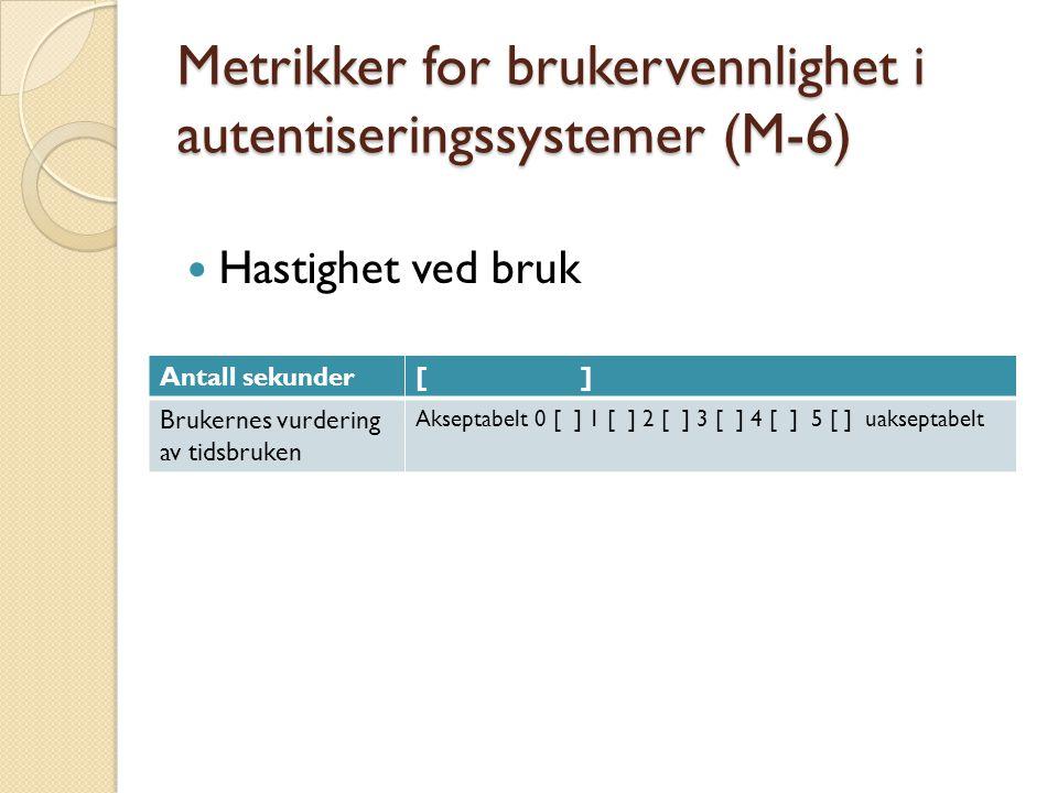 Metrikker for brukervennlighet i autentiseringssystemer (M-6) Hastighet ved bruk Antall sekunder[ ] Brukernes vurdering av tidsbruken Akseptabelt 0 [ ] 1 [ ] 2 [ ] 3 [ ] 4 [ ] 5 [ ] uakseptabelt