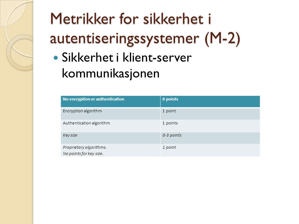 Metrikker for sikkerhet i autentiseringssystemer (M-3) Påloggingsprosedyrer If error condition arises, the system does not indicate which part of the data is correct or un-correct.