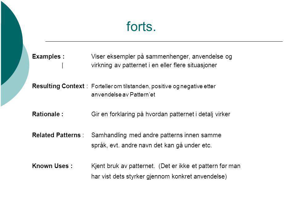 forts. Examples :Viser eksempler på sammenhenger, anvendelse og |virkning av patternet i en eller flere situasjoner Resulting Context : Forteller om t