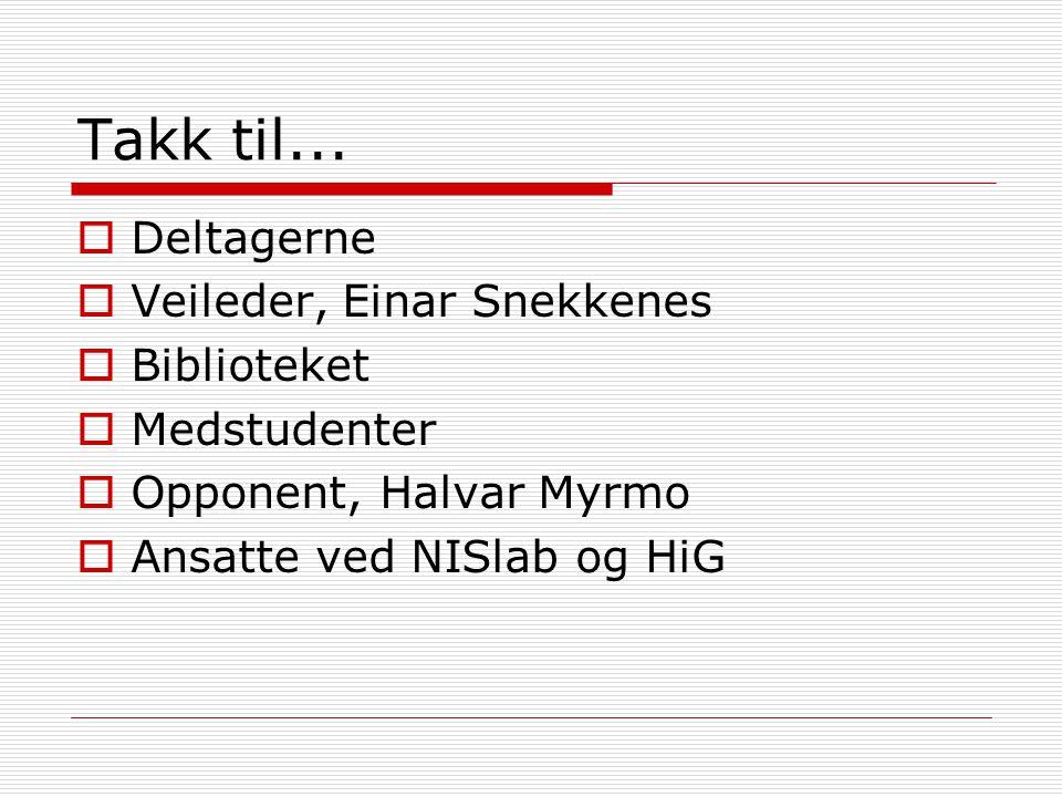 Takk til...  Deltagerne  Veileder, Einar Snekkenes  Biblioteket  Medstudenter  Opponent, Halvar Myrmo  Ansatte ved NISlab og HiG
