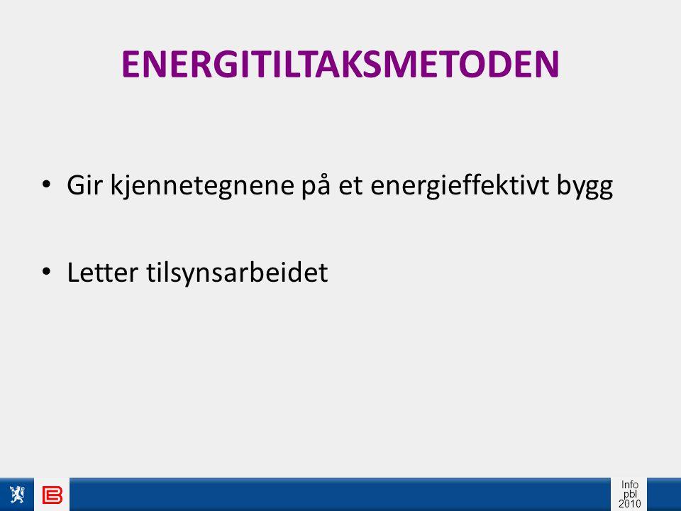 Info pbl 2010 ENERGITILTAKSMETODEN Gir kjennetegnene på et energieffektivt bygg Letter tilsynsarbeidet