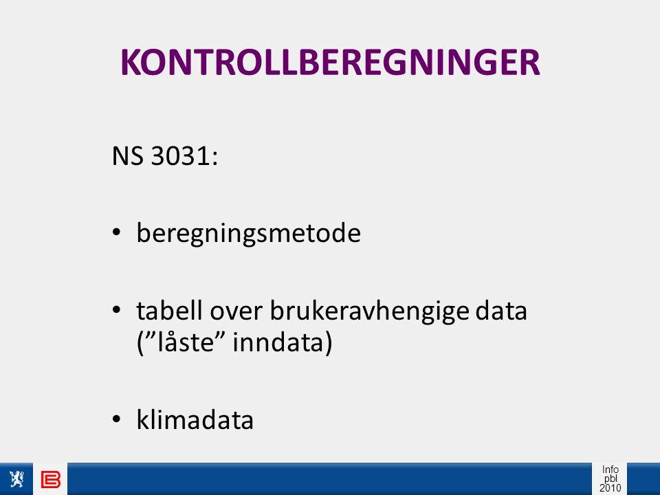 Info pbl 2010 KONTROLLBEREGNINGER NS 3031: beregningsmetode tabell over brukeravhengige data ( låste inndata) klimadata