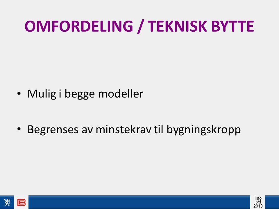 Info pbl 2010 OMFORDELING / TEKNISK BYTTE Mulig i begge modeller Begrenses av minstekrav til bygningskropp