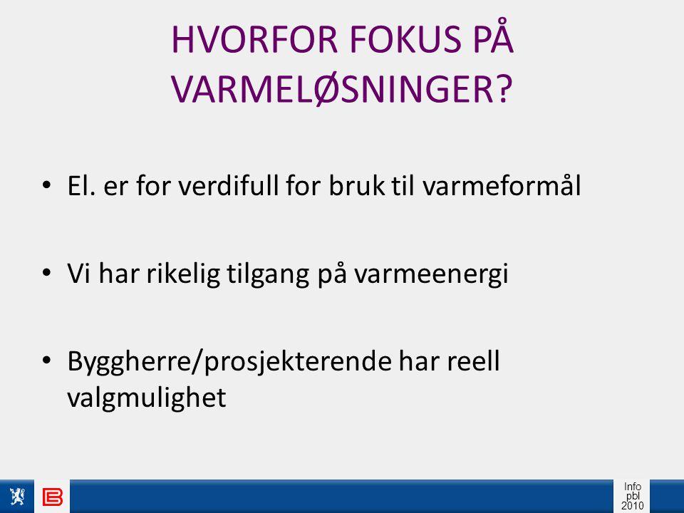 Info pbl 2010 HVORFOR FOKUS PÅ VARMELØSNINGER.El.