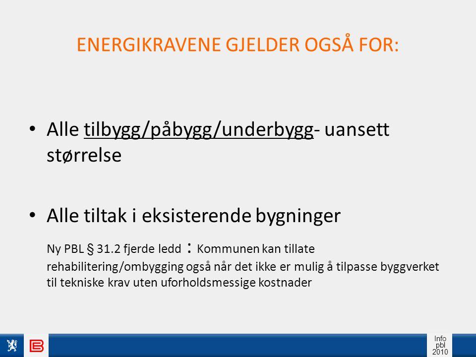 Info pbl 2010 ENERGIKRAVENE GJELDER OGSÅ FOR: Alle tilbygg/påbygg/underbygg- uansett størrelse Alle tiltak i eksisterende bygninger Ny PBL § 31.2 fjer