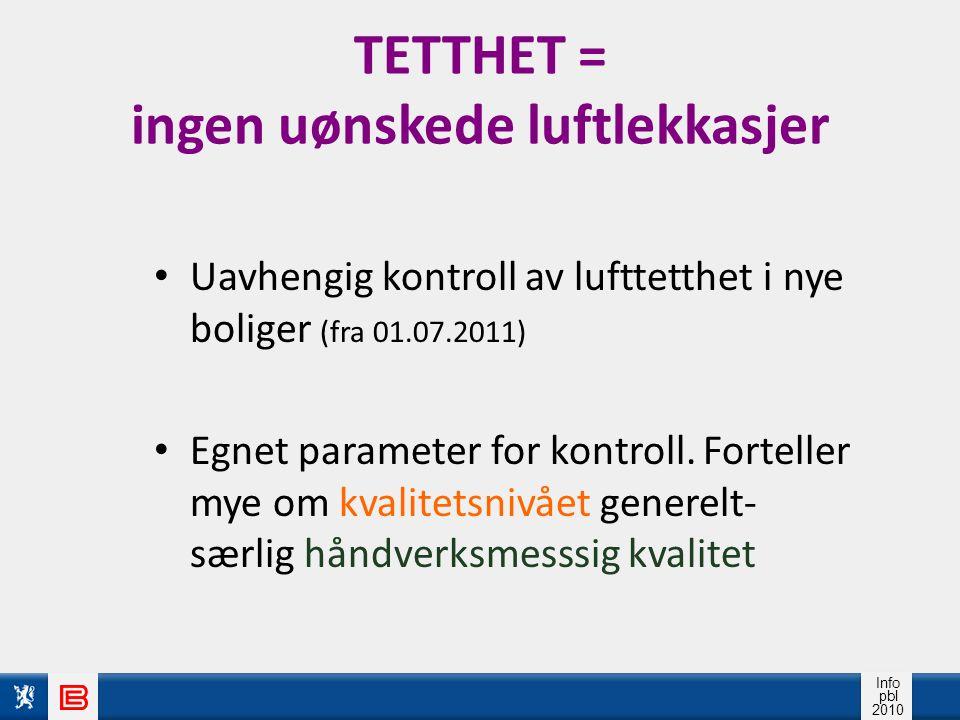 Info pbl 2010 TETTHET = ingen uønskede luftlekkasjer Uavhengig kontroll av lufttetthet i nye boliger (fra 01.07.2011) Egnet parameter for kontroll.