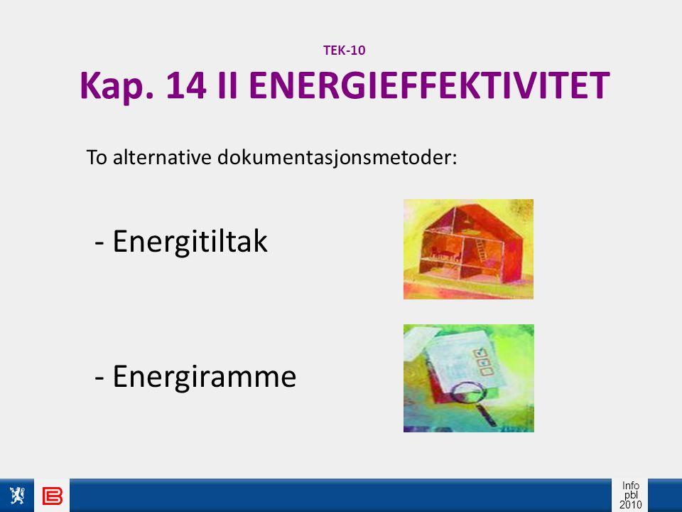 Info pbl 2010 TEK-10 Kap. 14 II ENERGIEFFEKTIVITET To alternative dokumentasjonsmetoder: - Energitiltak - Energiramme