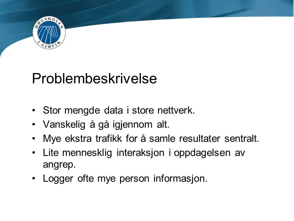 Problembeskrivelse Stor mengde data i store nettverk.