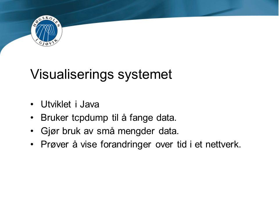 Visualiserings systemet Utviklet i Java Bruker tcpdump til å fange data. Gjør bruk av små mengder data. Prøver å vise forandringer over tid i et nettv