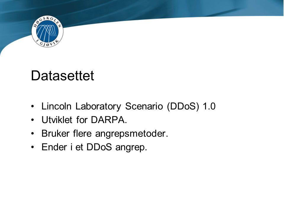 Datasettet Lincoln Laboratory Scenario (DDoS) 1.0 Utviklet for DARPA. Bruker flere angrepsmetoder. Ender i et DDoS angrep.