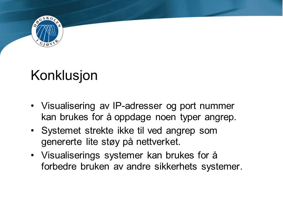 Konklusjon Visualisering av IP-adresser og port nummer kan brukes for å oppdage noen typer angrep. Systemet strekte ikke til ved angrep som genererte