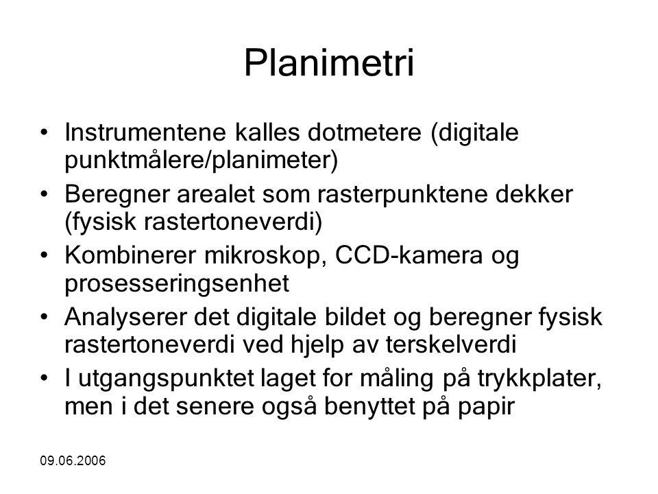 09.06.2006 Planimetri Instrumentene kalles dotmetere (digitale punktmålere/planimeter) Beregner arealet som rasterpunktene dekker (fysisk rastertoneve